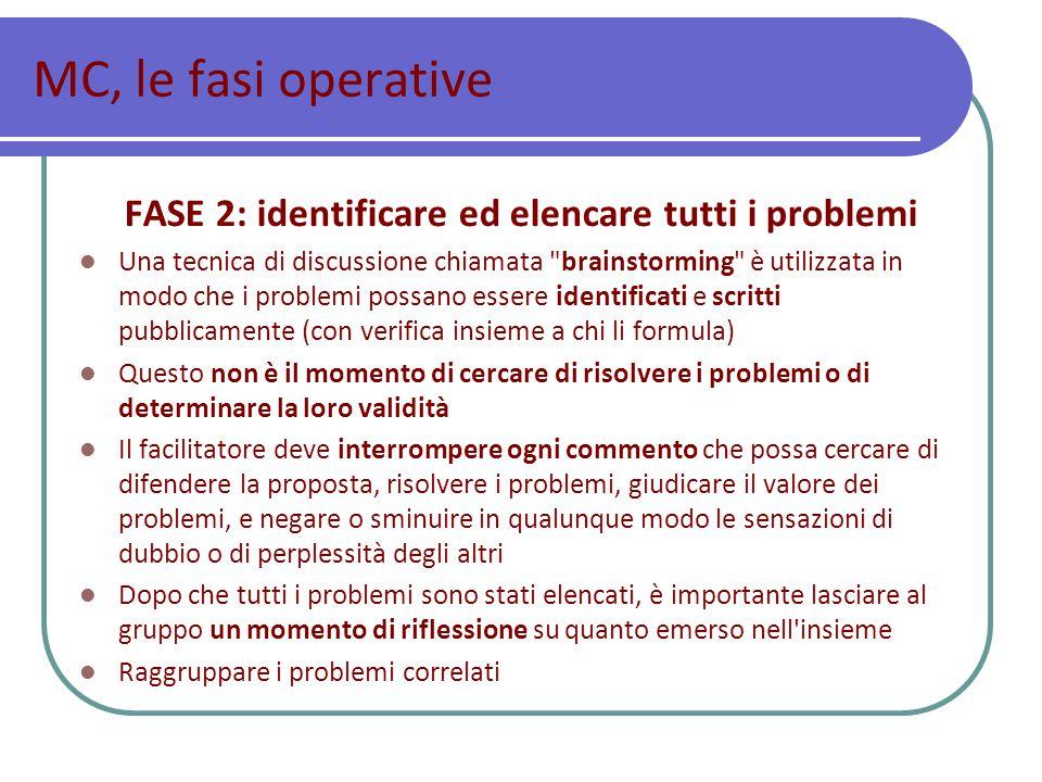 FASE 2: identificare ed elencare tutti i problemi