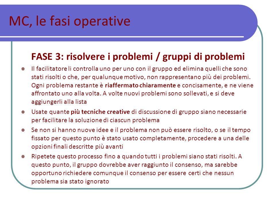 FASE 3: risolvere i problemi / gruppi di problemi