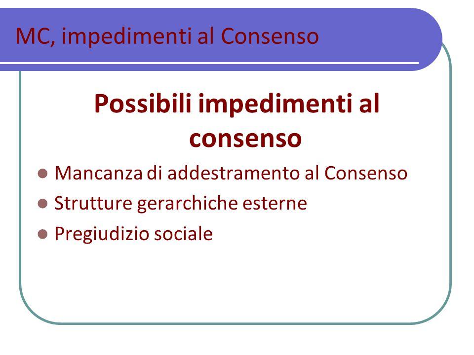 MC, impedimenti al Consenso