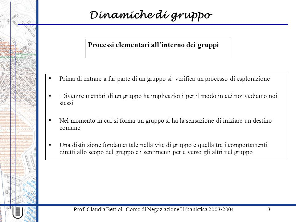 Processi elementari all'interno dei gruppi