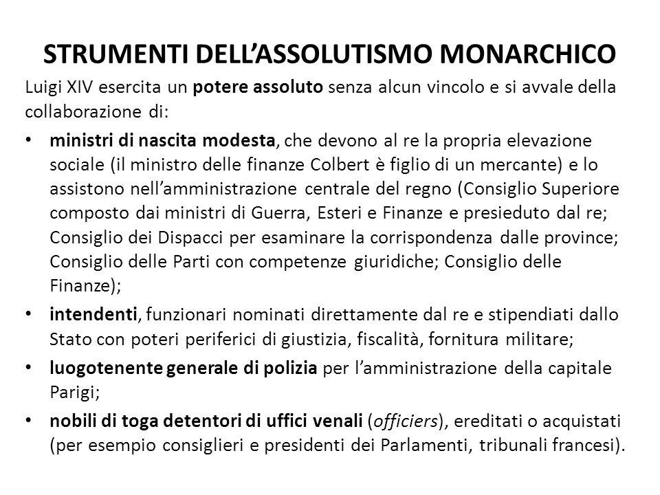 STRUMENTI DELL'ASSOLUTISMO MONARCHICO