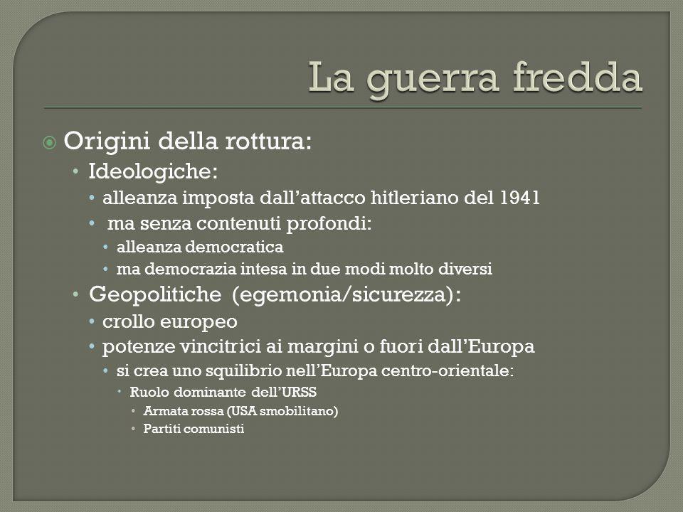 La guerra fredda Origini della rottura: Ideologiche: