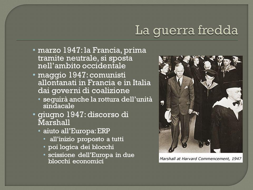 La guerra fredda marzo 1947: la Francia, prima tramite neutrale, si sposta nell'ambito occidentale.