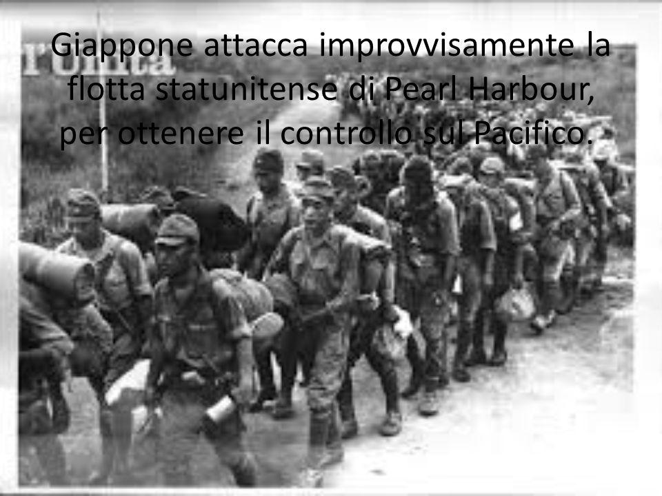 Giappone attacca improvvisamente la flotta statunitense di Pearl Harbour, per ottenere il controllo sul Pacifico.