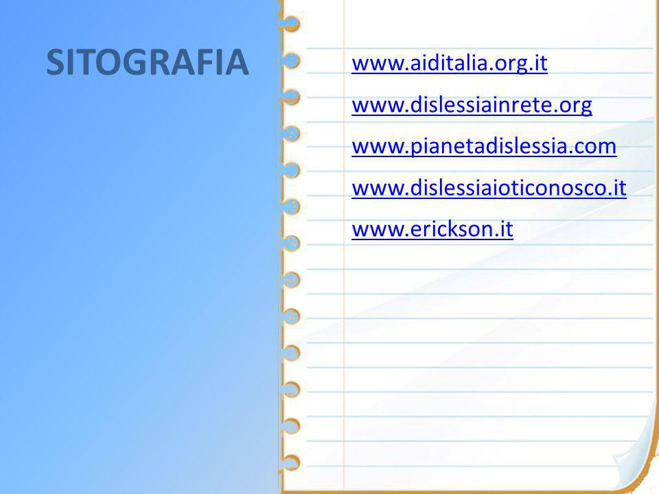 SITOGRAFIA www.aiditalia.org.it www.dislessiainrete.org www.pianetadislessia.com www.dislessiaioticonosco.it www.erickson.it