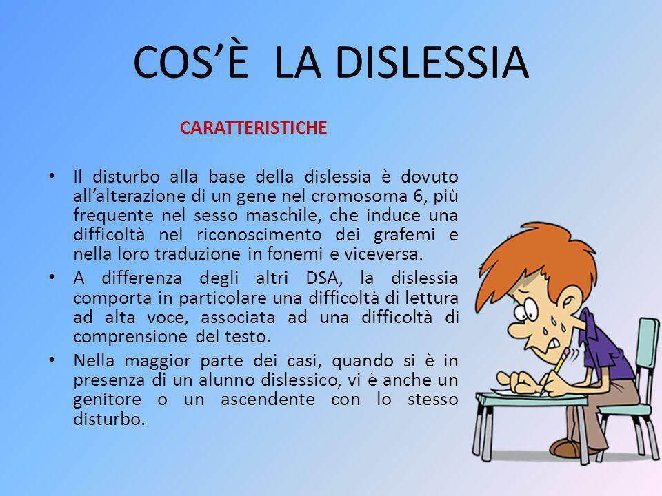 COS'È LA DISLESSIA CARATTERISTICHE