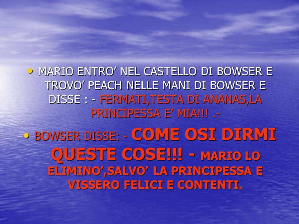 MARIO ENTRO' NEL CASTELLO DI BOWSER E TROVO' PEACH NELLE MANI DI BOWSER E DISSE : - FERMATI,TESTA DI ANANAS,LA PRINCIPESSA E' MIA!!! .-