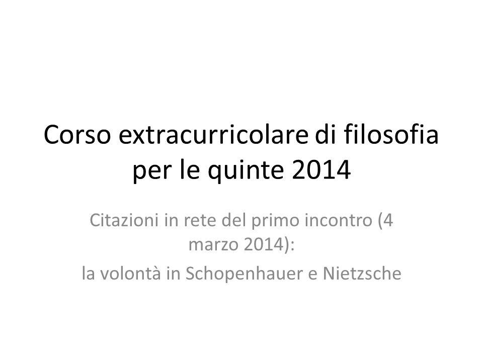 Corso extracurricolare di filosofia per le quinte 2014