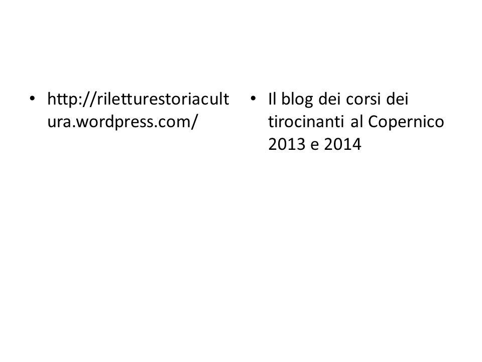 http://riletturestoriacultura.wordpress.com/ Il blog dei corsi dei tirocinanti al Copernico 2013 e 2014.