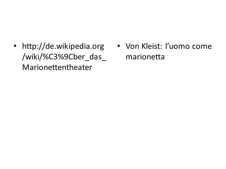http://de.wikipedia.org/wiki/%C3%9Cber_das_Marionettentheater Von Kleist: l'uomo come marionetta