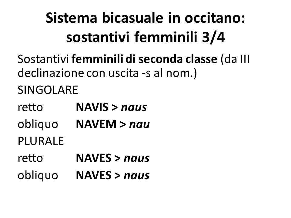 Sistema bicasuale in occitano: sostantivi femminili 3/4