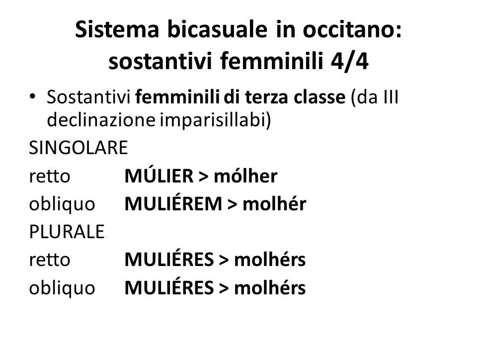 Sistema bicasuale in occitano: sostantivi femminili 4/4