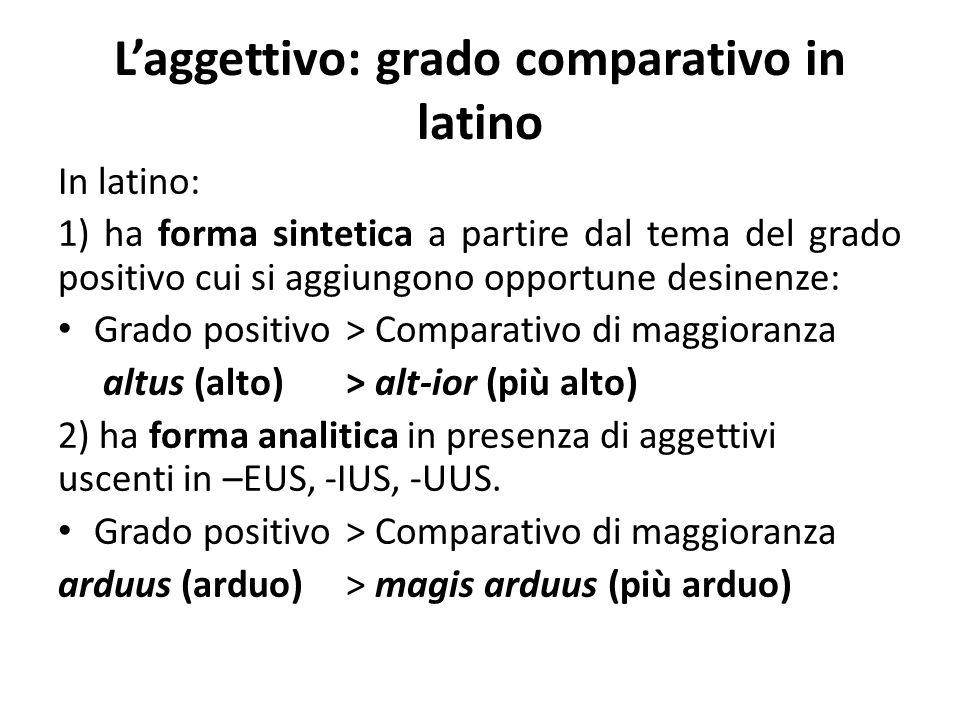 L'aggettivo: grado comparativo in latino
