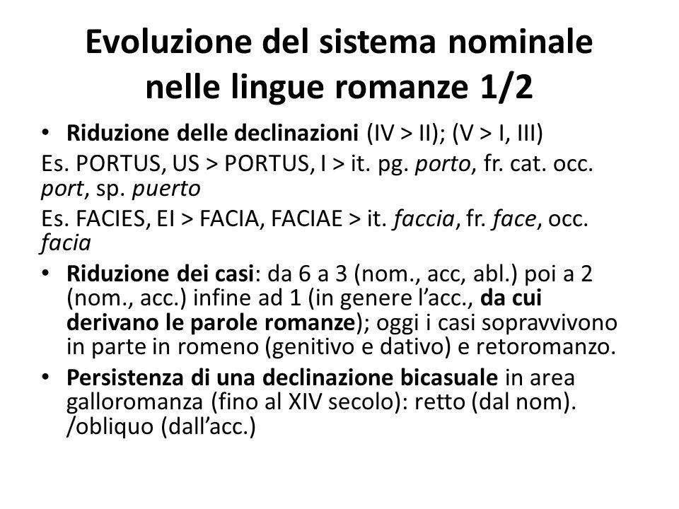 Evoluzione del sistema nominale nelle lingue romanze 1/2