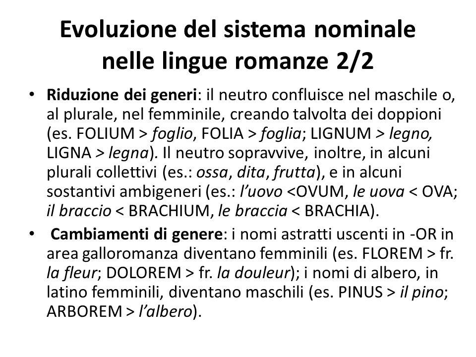 Evoluzione del sistema nominale nelle lingue romanze 2/2