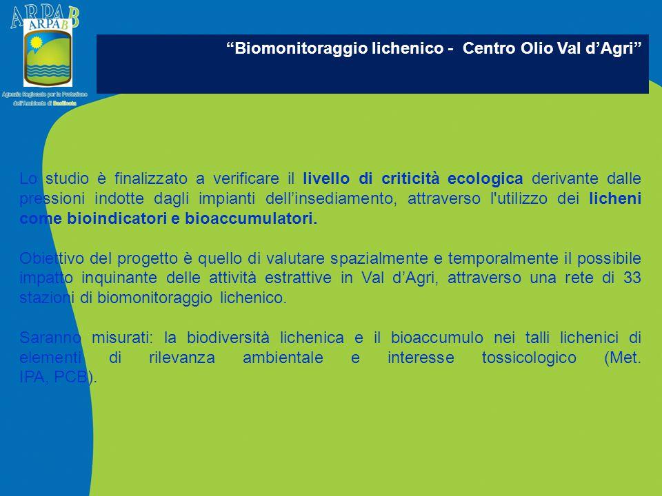 Biomonitoraggio lichenico - Centro Olio Val d'Agri