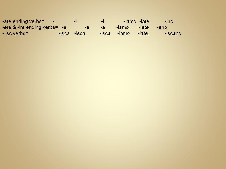 -are ending verbs= -i -i -i -iamo -iate -ino