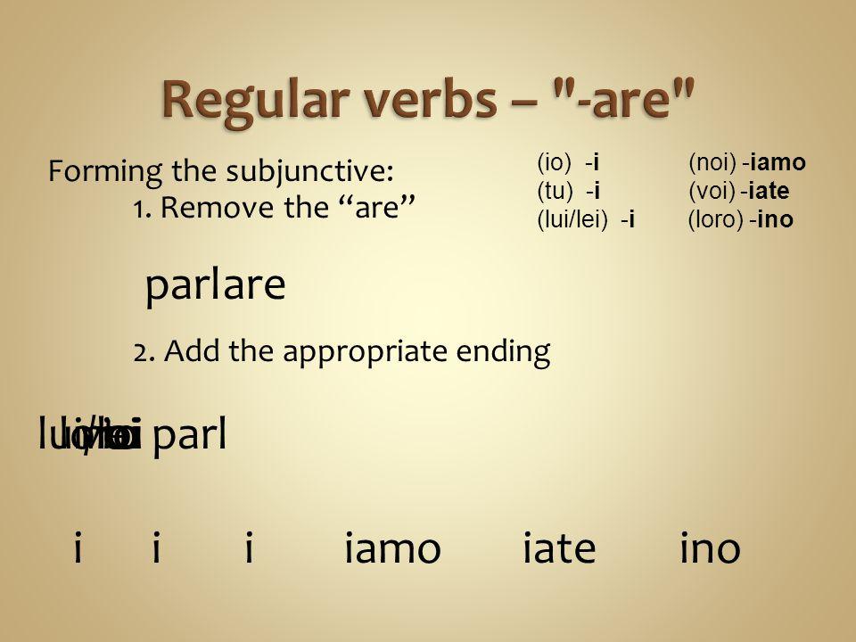 Regular verbs – -are parl are lui/lei loro voi noi io tu parl i i i