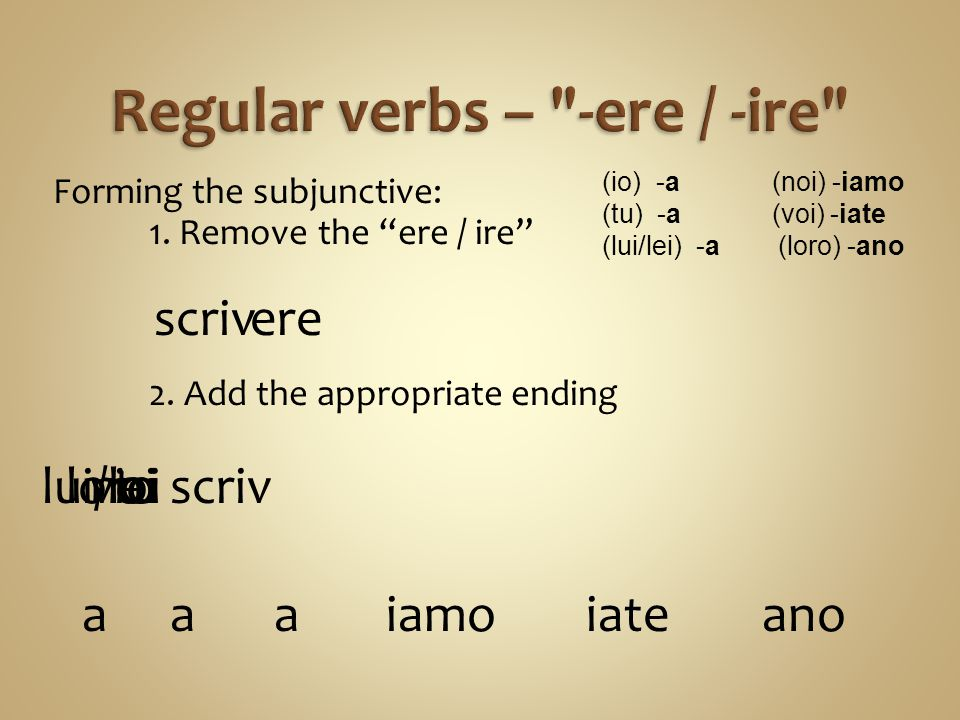 Regular verbs – -ere / -ire
