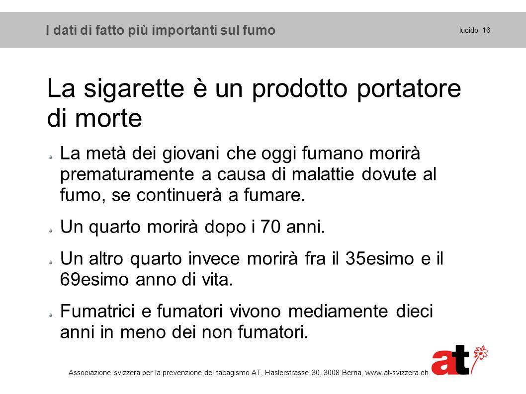 La sigarette è un prodotto portatore di morte