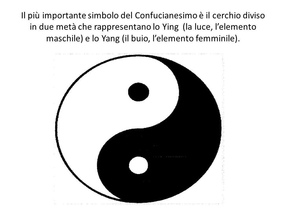 Il più importante simbolo del Confucianesimo è il cerchio diviso in due metà che rappresentano lo Ying (la luce, l'elemento maschile) e lo Yang (il buio, l'elemento femminile).