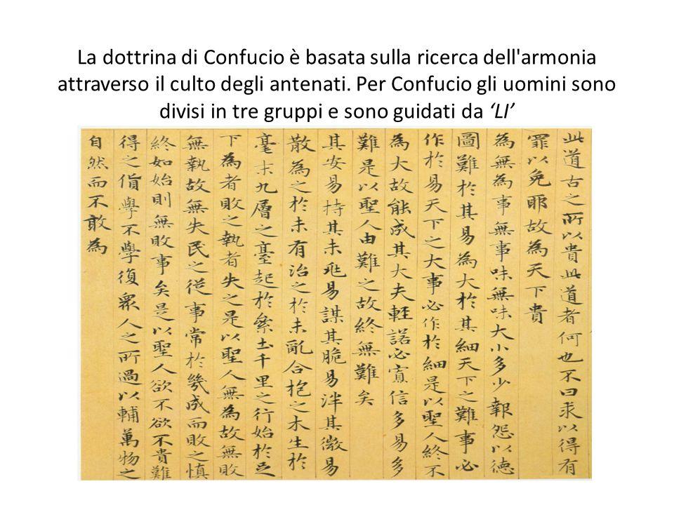 La dottrina di Confucio è basata sulla ricerca dell armonia attraverso il culto degli antenati.