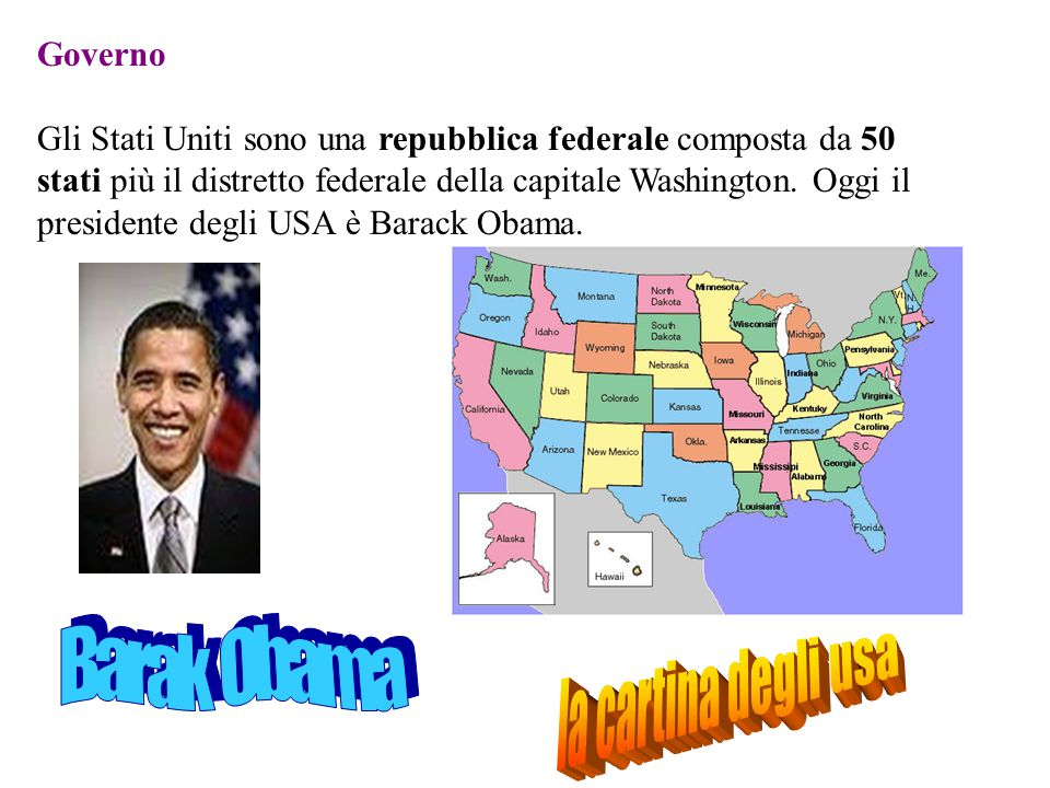 Barak Obama la cartina degli usa Governo
