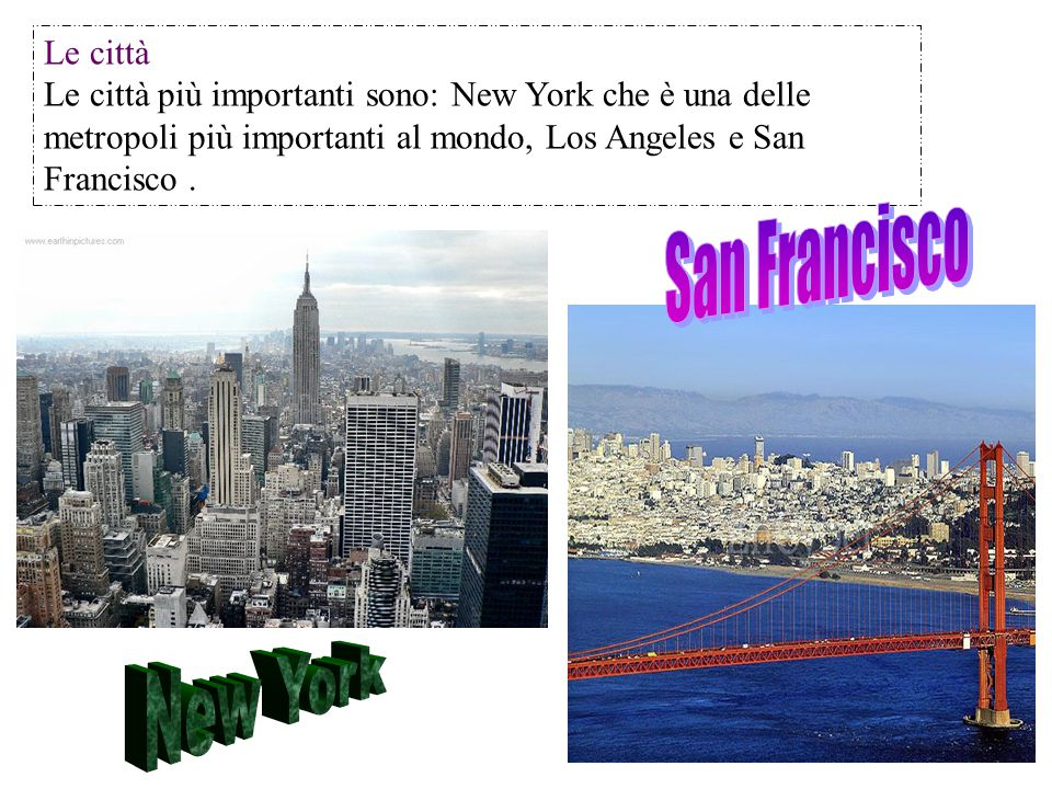 San Francisco New York Le città