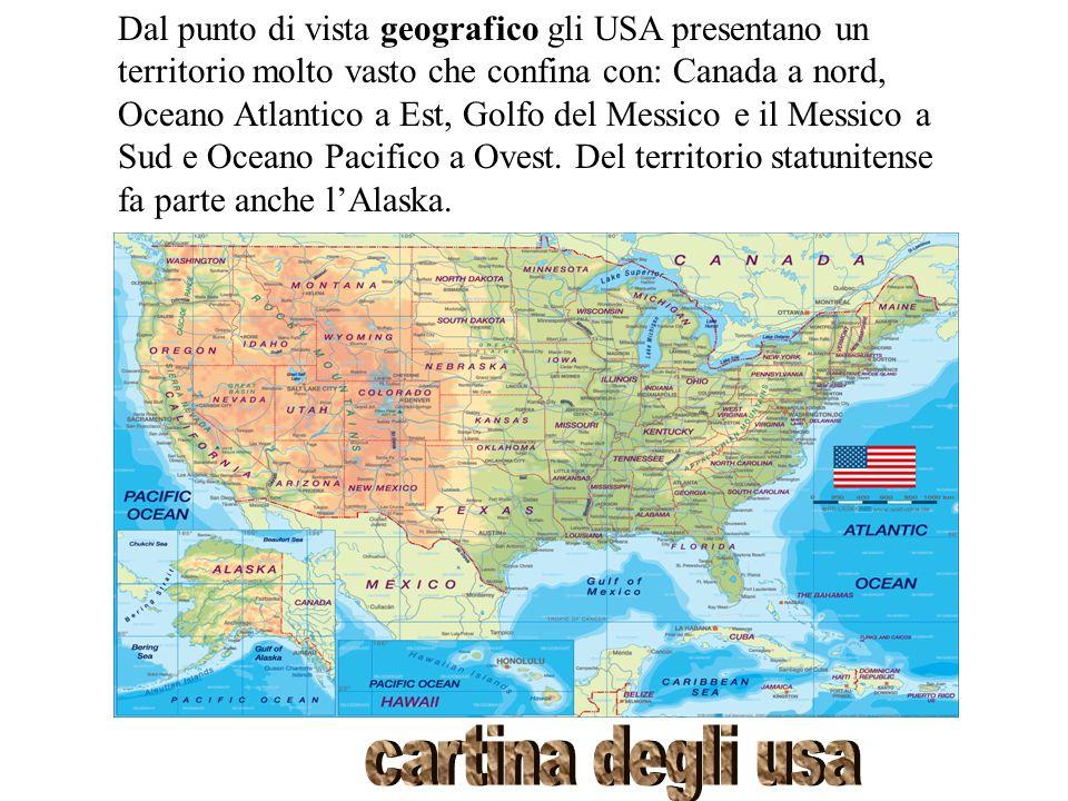 Dal punto di vista geografico gli USA presentano un territorio molto vasto che confina con: Canada a nord, Oceano Atlantico a Est, Golfo del Messico e il Messico a Sud e Oceano Pacifico a Ovest. Del territorio statunitense fa parte anche l'Alaska.