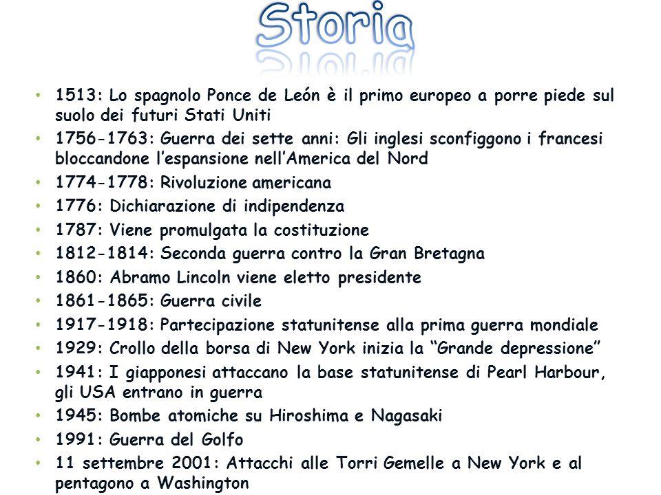 Storia 1513: Lo spagnolo Ponce de León è il primo europeo a porre piede sul suolo dei futuri Stati Uniti.