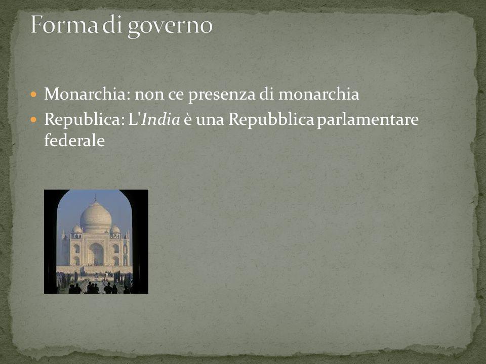 Forma di governo Monarchia: non ce presenza di monarchia