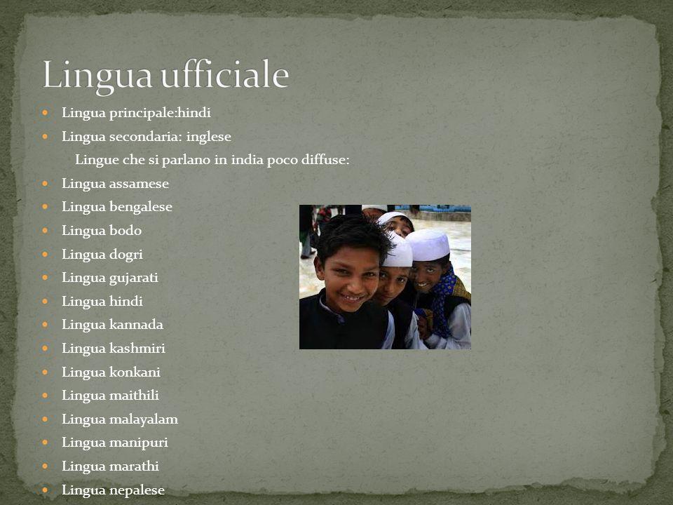 Lingua ufficiale Lingua principale:hindi Lingua secondaria: inglese