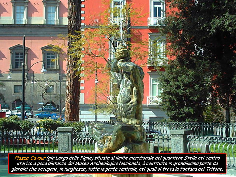 Piazza Cavour (già Largo delle Pigne) situata al limite meridionale del quartiere Stella nel centro storico a poca distanza dal Museo Archeologico Nazionale, è costituita in grandissima parte da giardini che occupano, in lunghezza, tutta la parte centrale, nei quali si trova la fontana del Tritone.