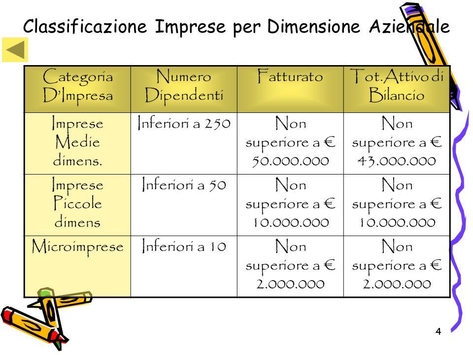 Classificazione Imprese per Dimensione Aziendale