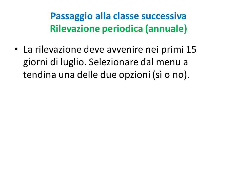Passaggio alla classe successiva Rilevazione periodica (annuale)