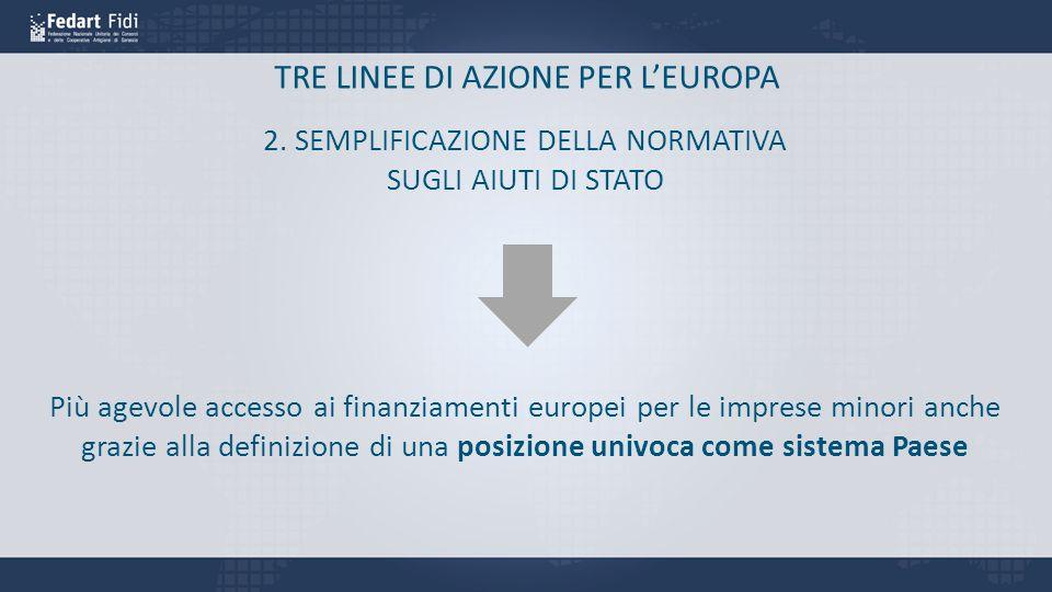 TRE LINEE DI AZIONE PER L'EUROPA