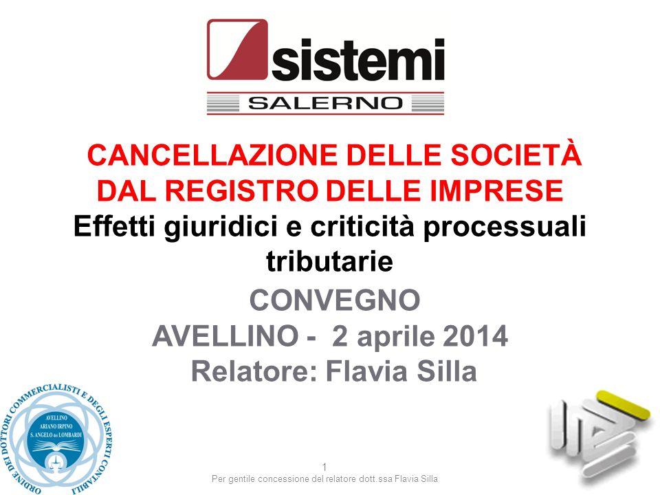 Per gentile concessione del relatore dott.ssa Flavia Silla