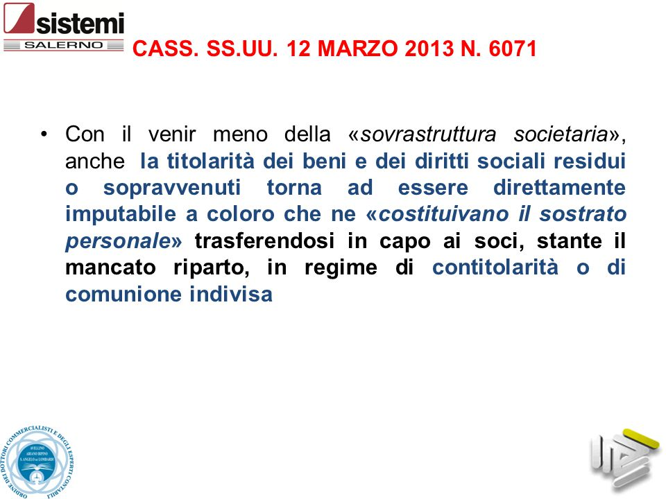 CASS. SS.UU. 12 MARZO 2013 N. 6071