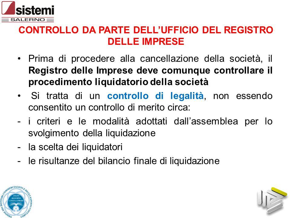 CONTROLLO DA PARTE DELL'UFFICIO DEL REGISTRO DELLE IMPRESE