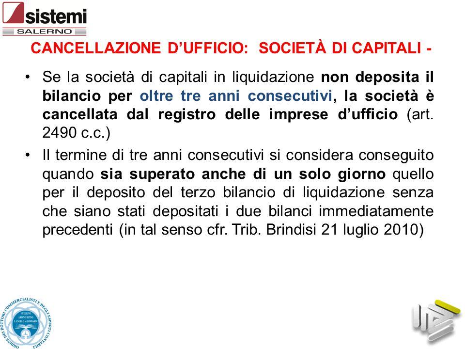 CANCELLAZIONE D'UFFICIO: SOCIETÀ DI CAPITALI -