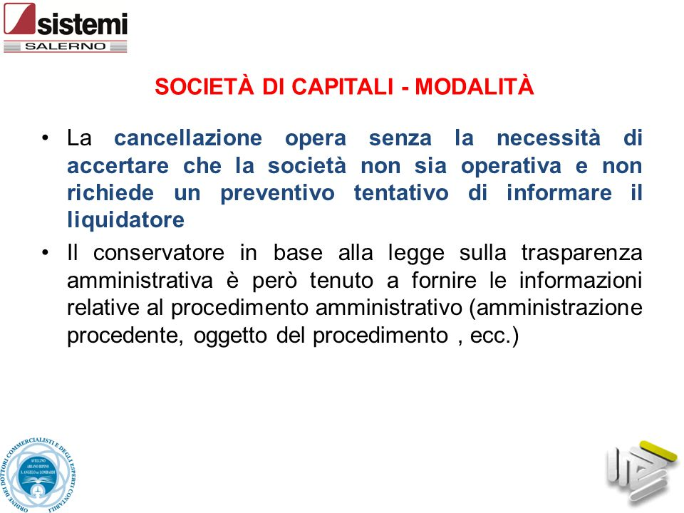 SOCIETÀ DI CAPITALI - MODALITÀ
