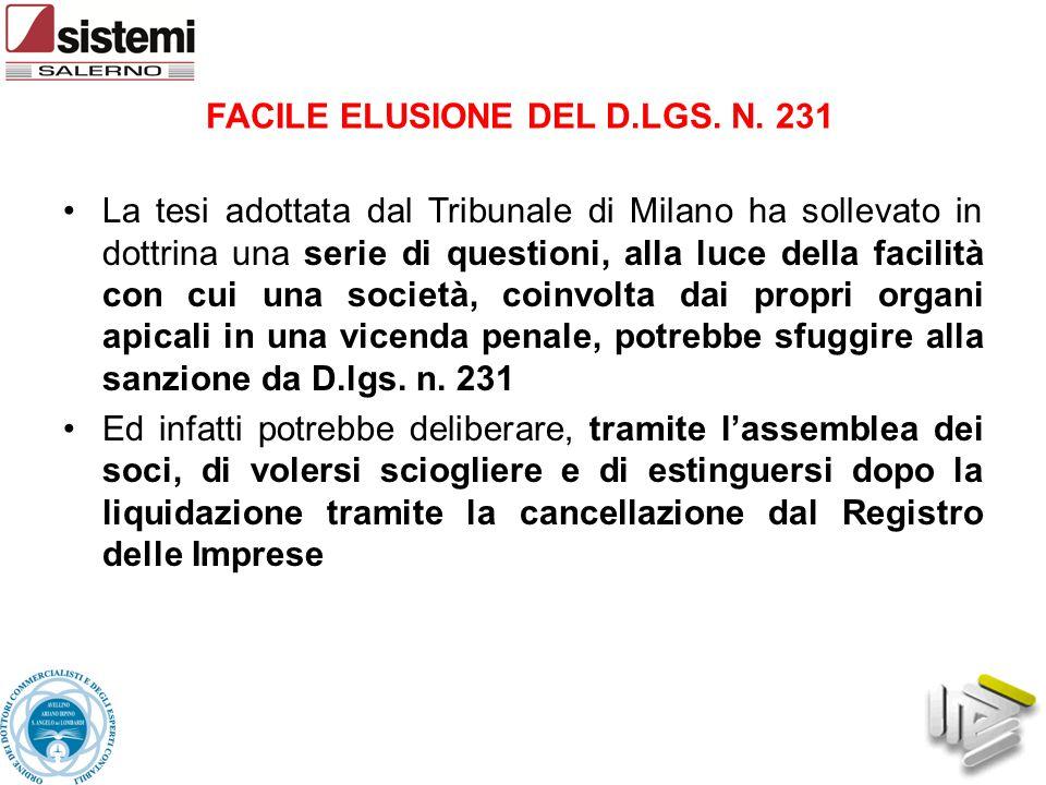 FACILE ELUSIONE DEL D.LGS. N. 231