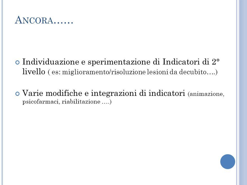 Ancora…… Individuazione e sperimentazione di Indicatori di 2° livello ( es: miglioramento/risoluzione lesioni da decubito….)