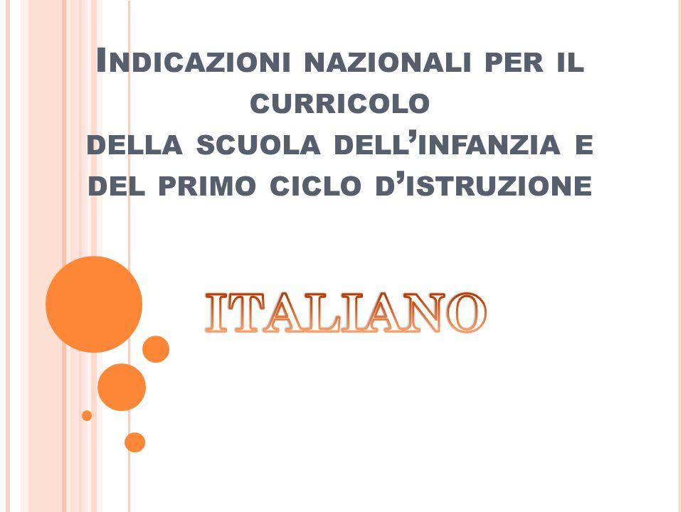 Indicazioni nazionali per il curricolo della scuola dell'infanzia e del primo ciclo d'istruzione