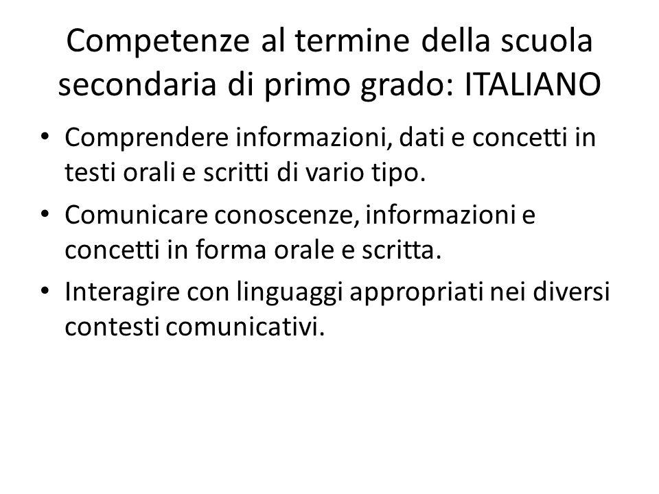 Competenze al termine della scuola secondaria di primo grado: ITALIANO