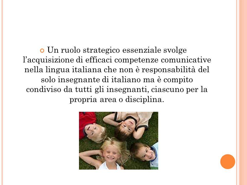 Un ruolo strategico essenziale svolge l'acquisizione di efficaci competenze comunicative nella lingua italiana che non è responsabilità del solo insegnante di italiano ma è compito condiviso da tutti gli insegnanti, ciascuno per la propria area o disciplina.
