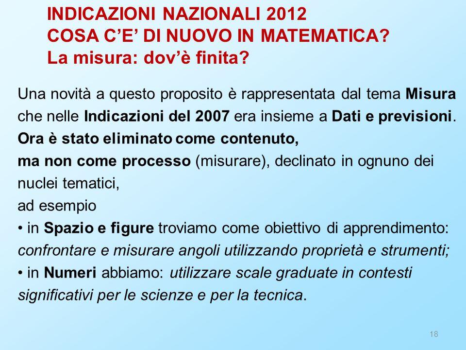 INDICAZIONI NAZIONALI 2012 COSA C'E' DI NUOVO IN MATEMATICA