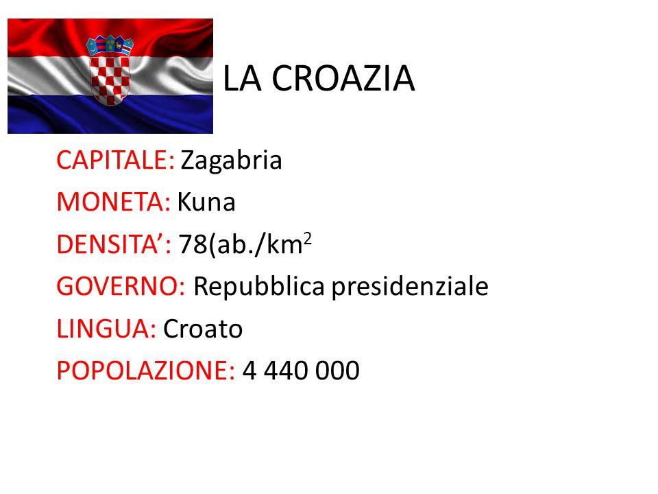 LA CROAZIA CAPITALE: Zagabria MONETA: Kuna DENSITA': 78(ab./km2