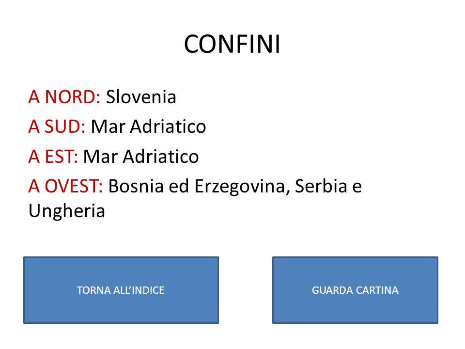 CONFINI A NORD: Slovenia A SUD: Mar Adriatico A EST: Mar Adriatico A OVEST: Bosnia ed Erzegovina, Serbia e Ungheria