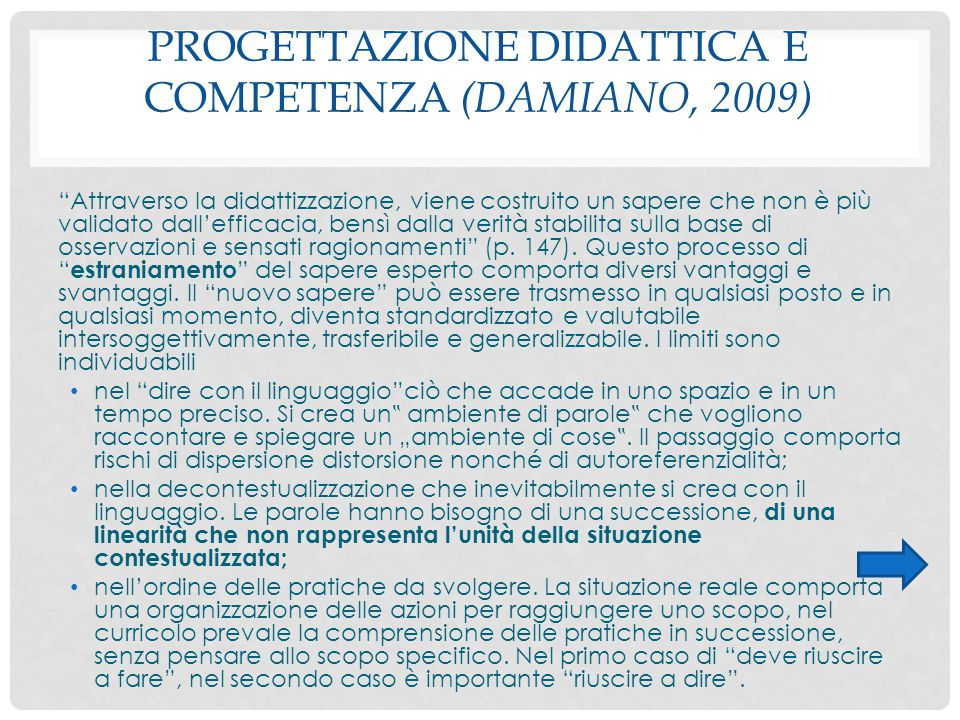Progettazione didattica e competenza (Damiano, 2009)